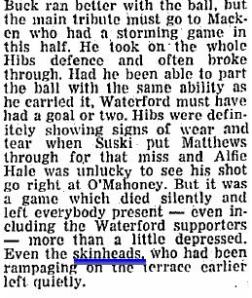 A clipping from a Waterford FC match in 1973 that ended in a nil all draw.